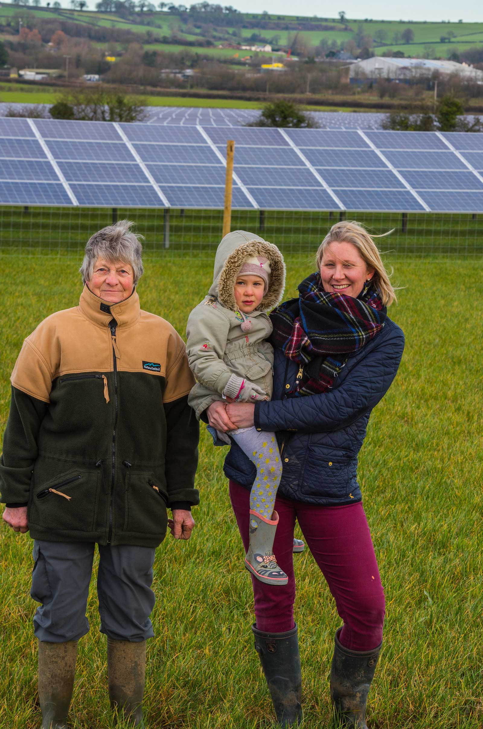 Family at Green Nation Solar Farm